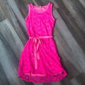 Dresses & Skirts - Pink Lace Overlay Mini-Dress
